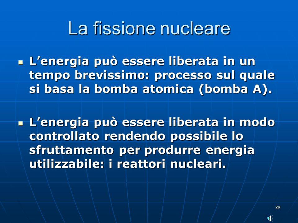 La fissione nucleare L'energia può essere liberata in un tempo brevissimo: processo sul quale si basa la bomba atomica (bomba A).