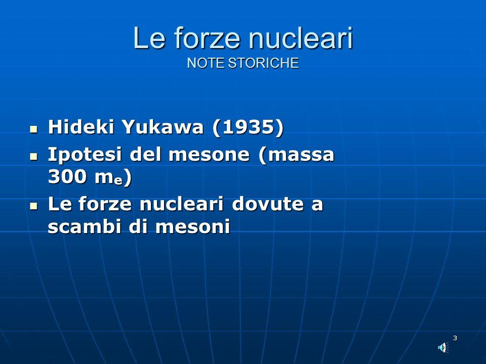 Le forze nucleari NOTE STORICHE