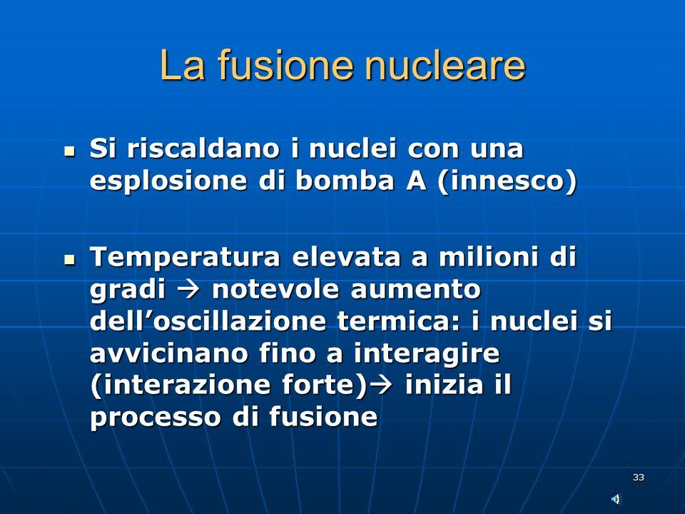 La fusione nucleare Si riscaldano i nuclei con una esplosione di bomba A (innesco)