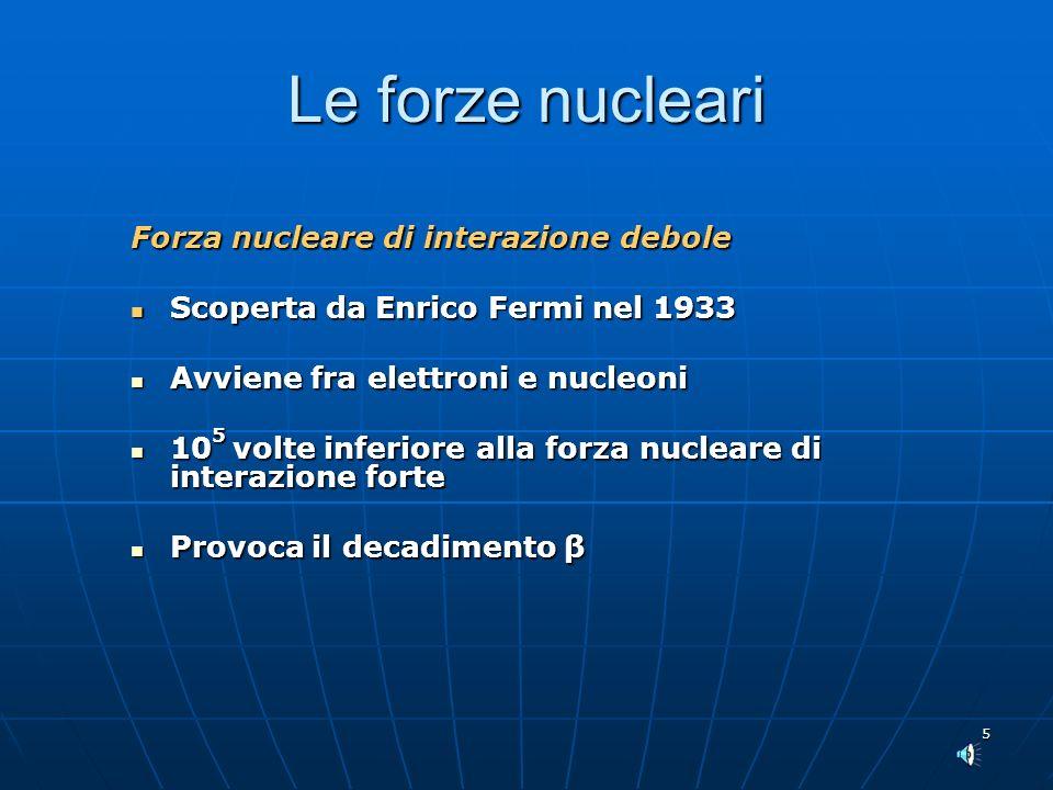 Le forze nucleari Forza nucleare di interazione debole