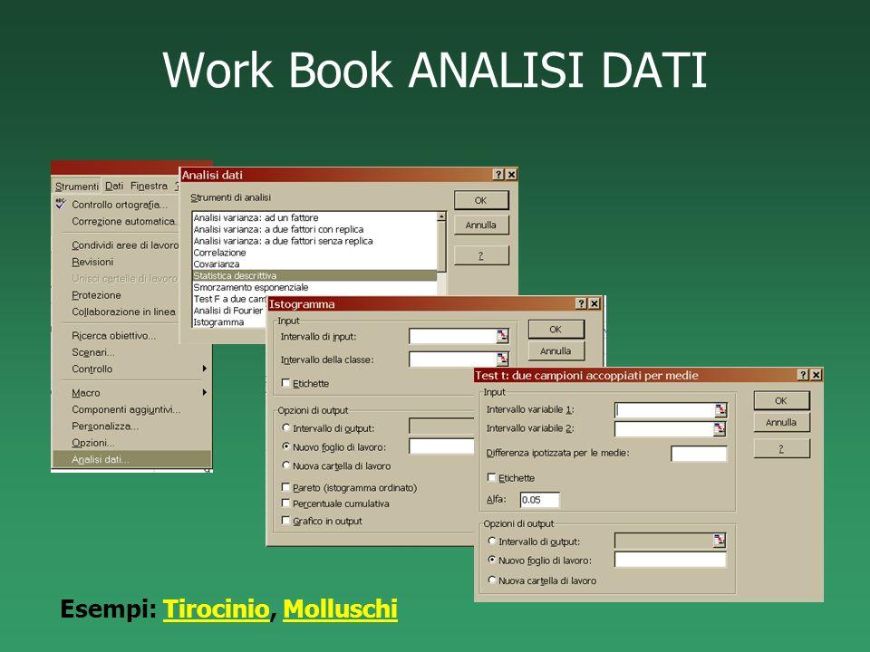Work Book ANALISI DATI Esempi: Tirocinio, Molluschi