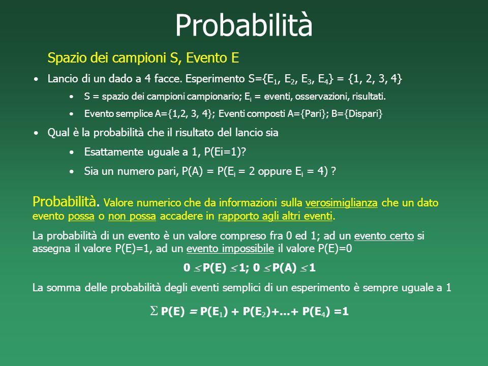 S P(E) = P(E1) + P(E2)+…+ P(E4) =1