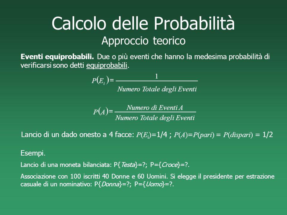 Calcolo delle Probabilità Approccio teorico