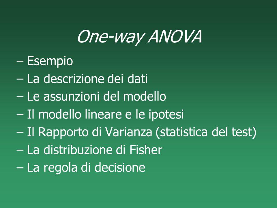 One-way ANOVA Esempio La descrizione dei dati
