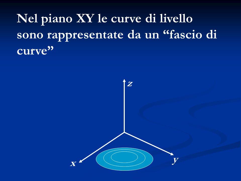 Nel piano XY le curve di livello sono rappresentate da un fascio di curve