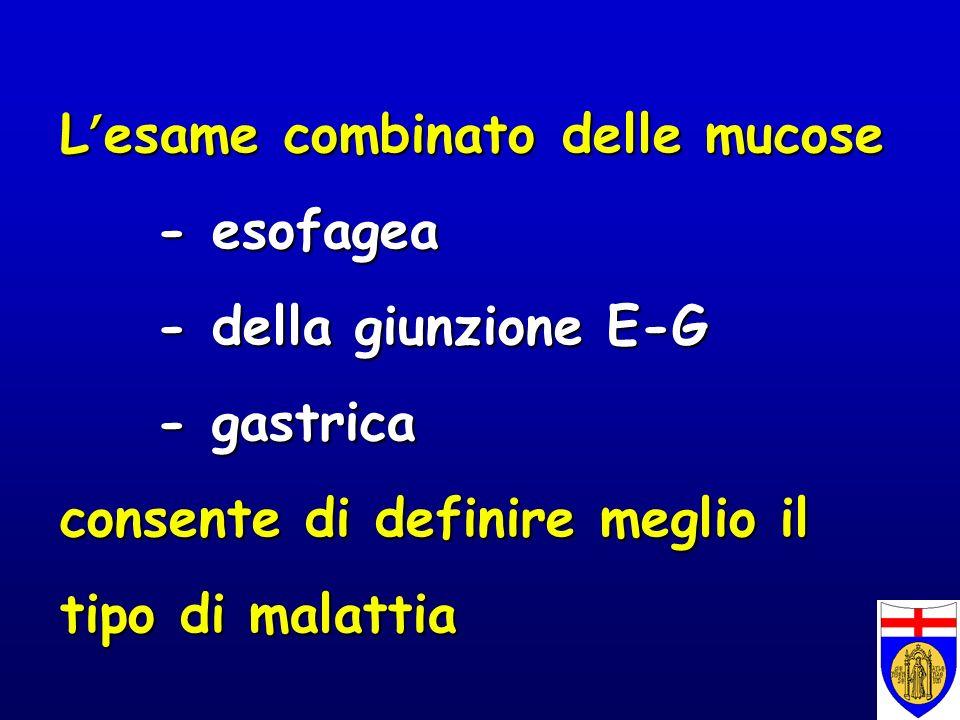 L'esame combinato delle mucose. - esofagea. - della giunzione E-G
