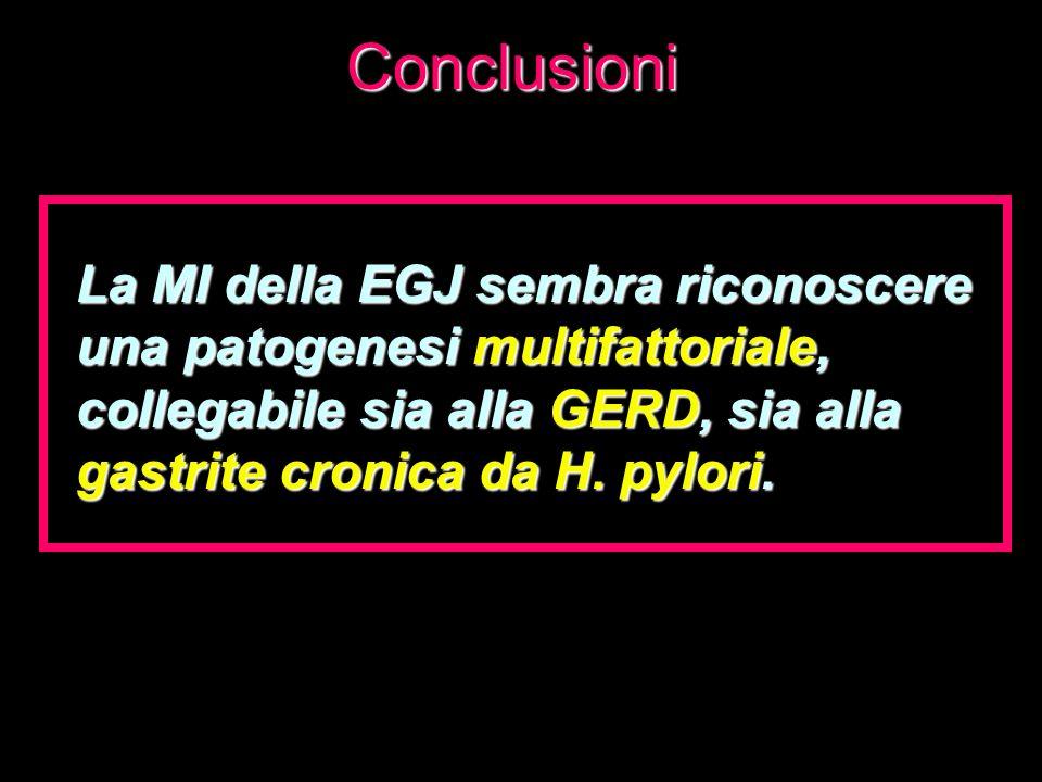 Conclusioni La MI della EGJ sembra riconoscere una patogenesi multifattoriale, collegabile sia alla GERD, sia alla gastrite cronica da H.