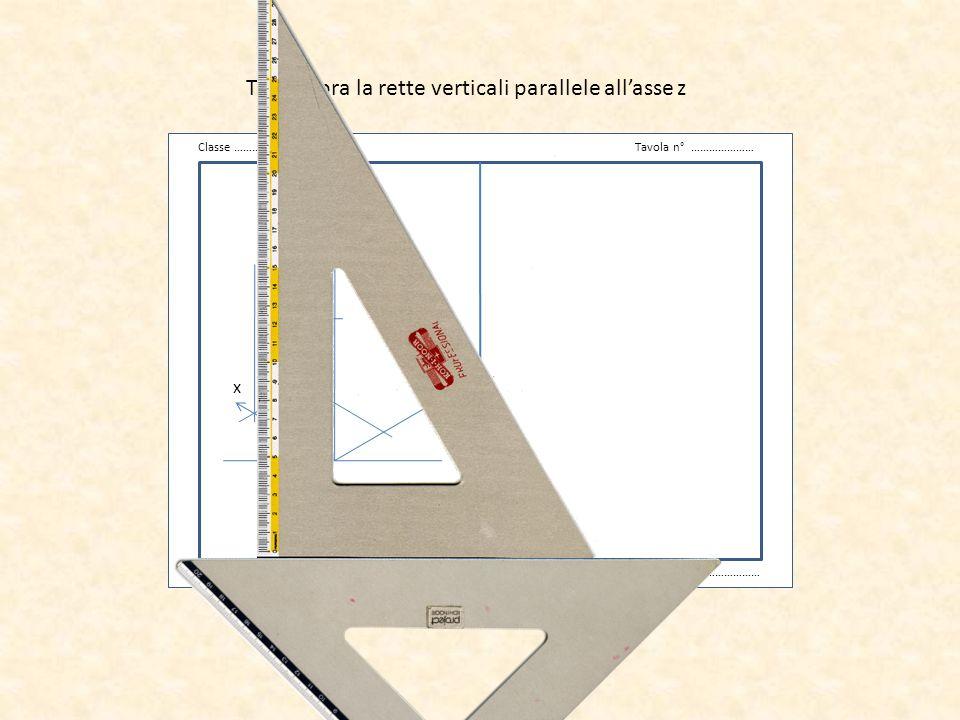 Traccia ora la rette verticali parallele all'asse z