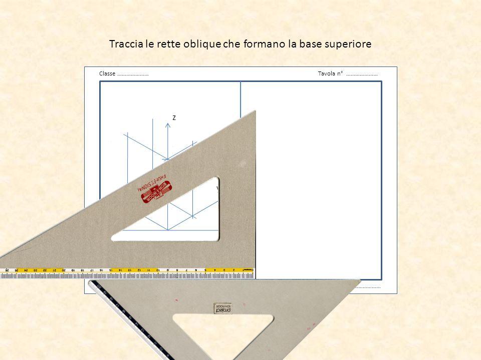 Traccia le rette oblique che formano la base superiore