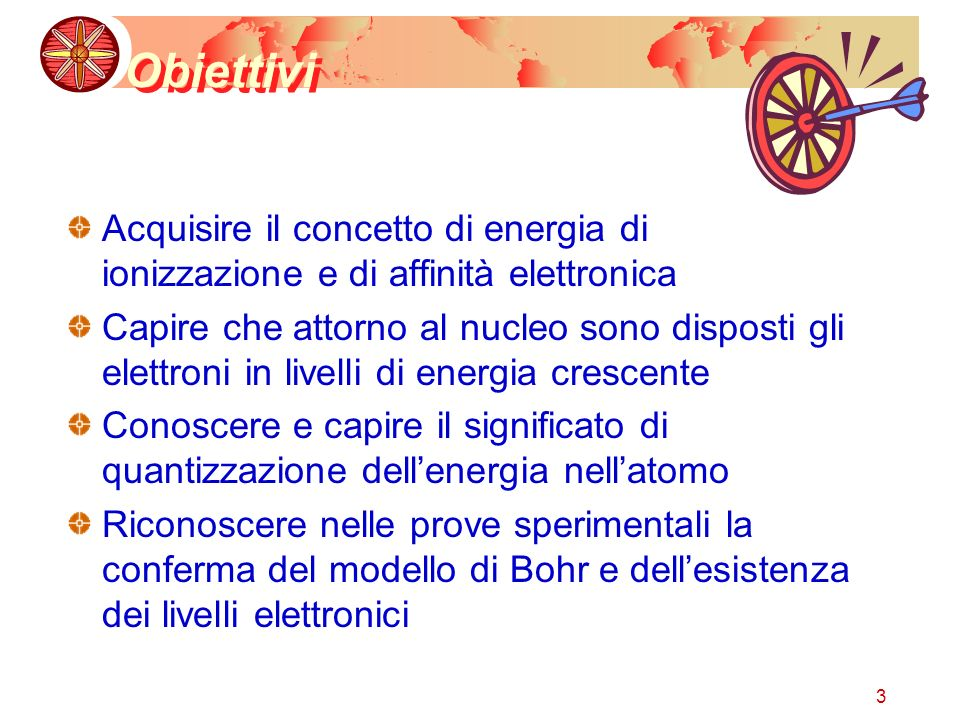 Obiettivi Acquisire il concetto di energia di ionizzazione e di affinità elettronica.
