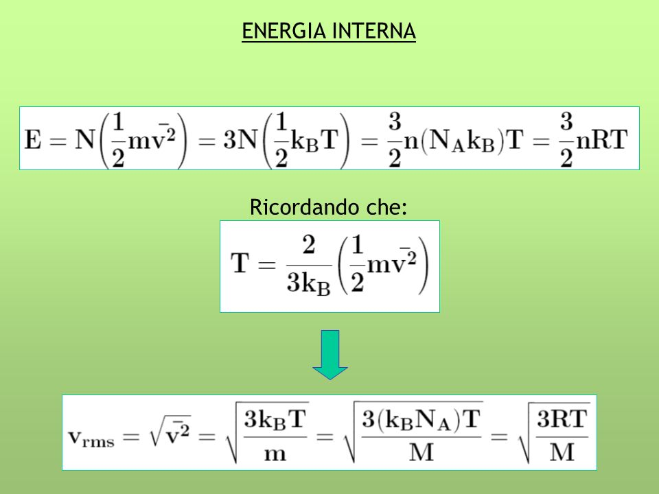 ENERGIA INTERNA Ricordando che: