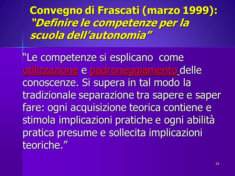 Convegno di Frascati (marzo 1999): Definire le competenze per la scuola dell'autonomia