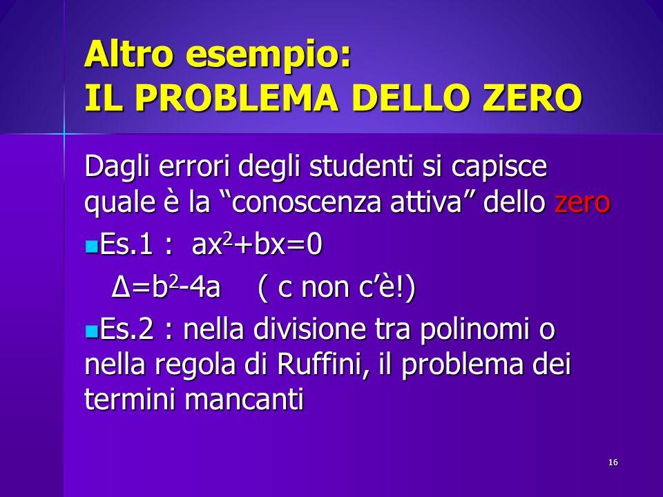 Altro esempio: IL PROBLEMA DELLO ZERO
