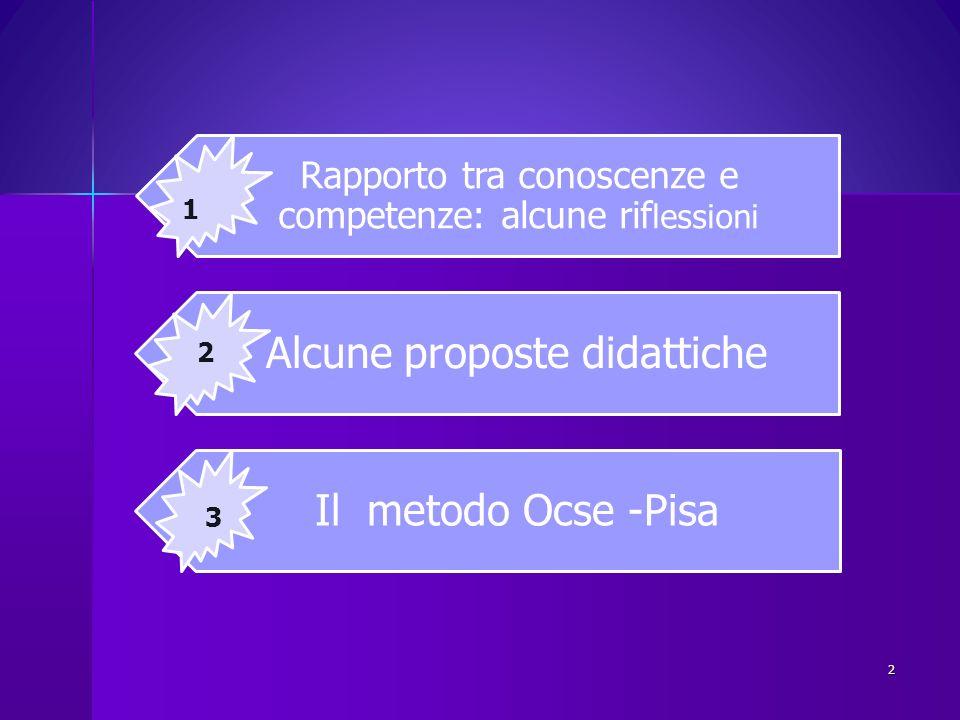 Alcune proposte didattiche Il metodo Ocse -Pisa