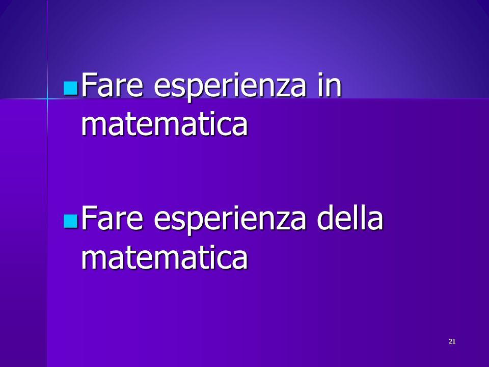 Fare esperienza in matematica