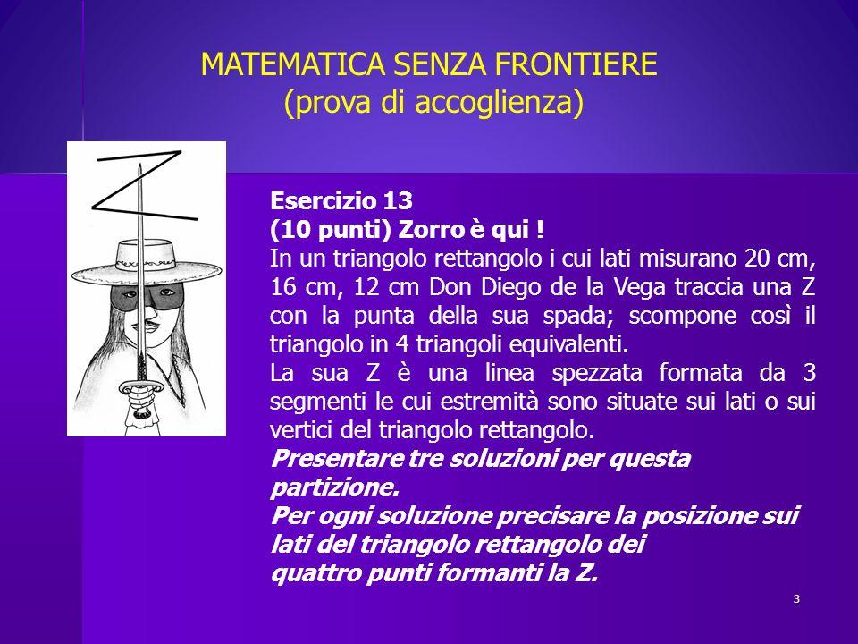 MATEMATICA SENZA FRONTIERE (prova di accoglienza)