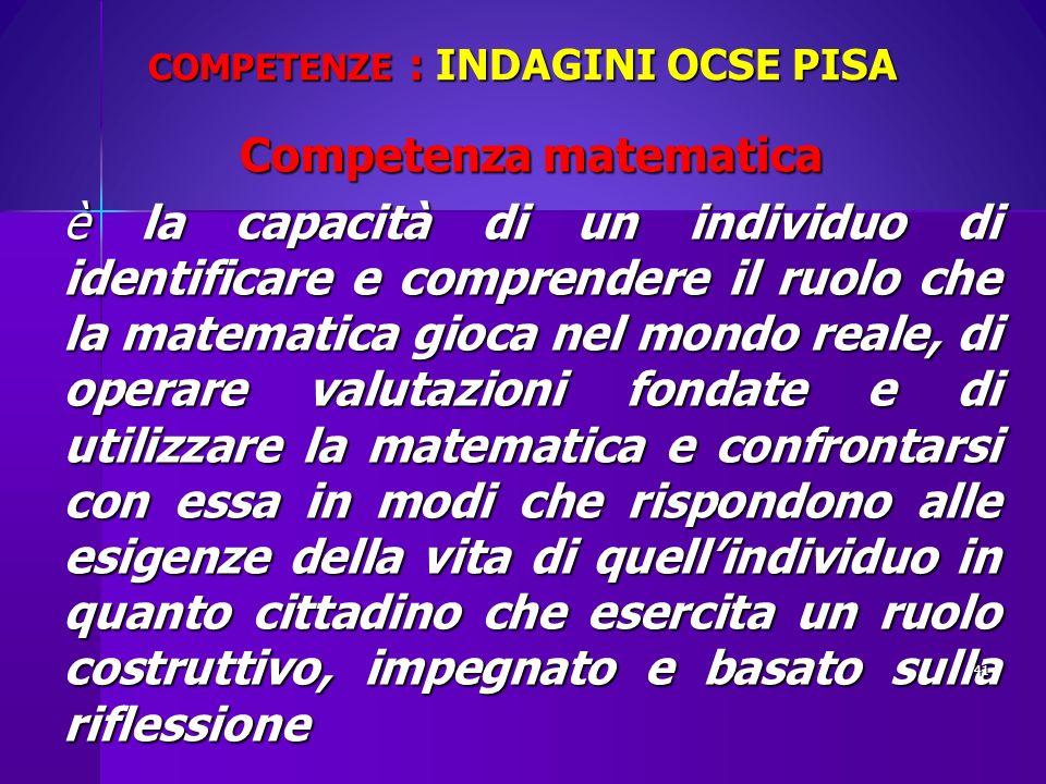 COMPETENZE : INDAGINI OCSE PISA