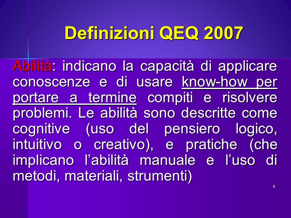 Definizioni QEQ 2007