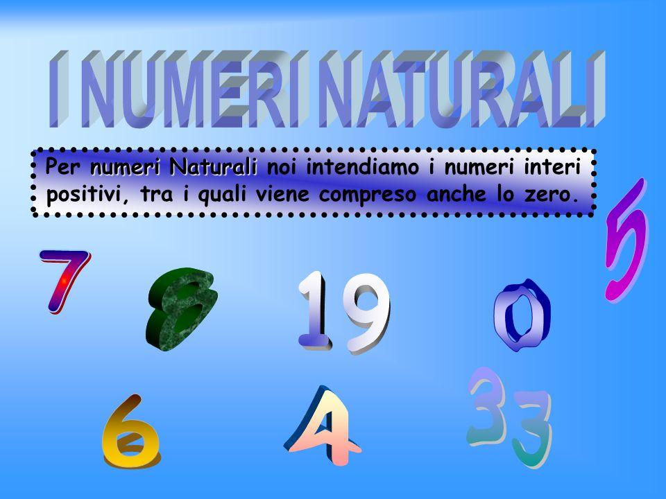 5 7 8 19 33 4 6 Naturali I NUMERI NATURALI