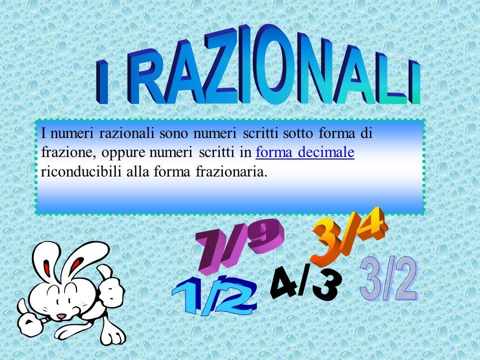 I RAZIONALI Razionali 4/3 3/4 7/9 3/2 1/2