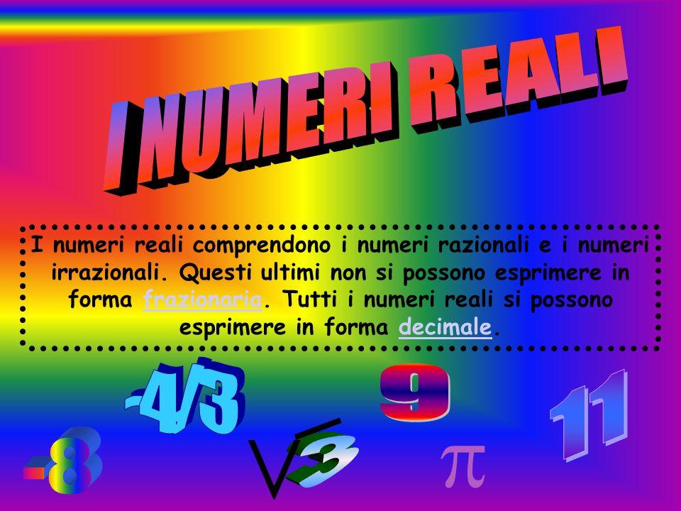  V Reali I NUMERI REALI -4/3 9 11 3 -8