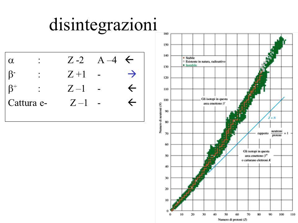 disintegrazioni a : Z -2 A –4  b- : Z +1 -  b+ : Z –1 - 
