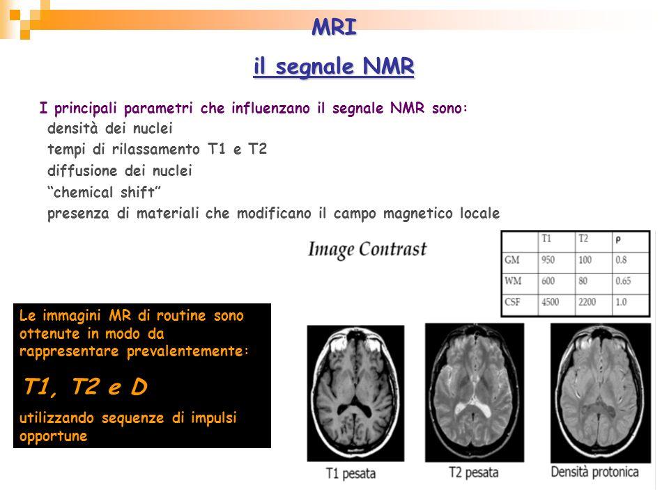 MRI il segnale NMR. I principali parametri che influenzano il segnale NMR sono: densità dei nuclei.