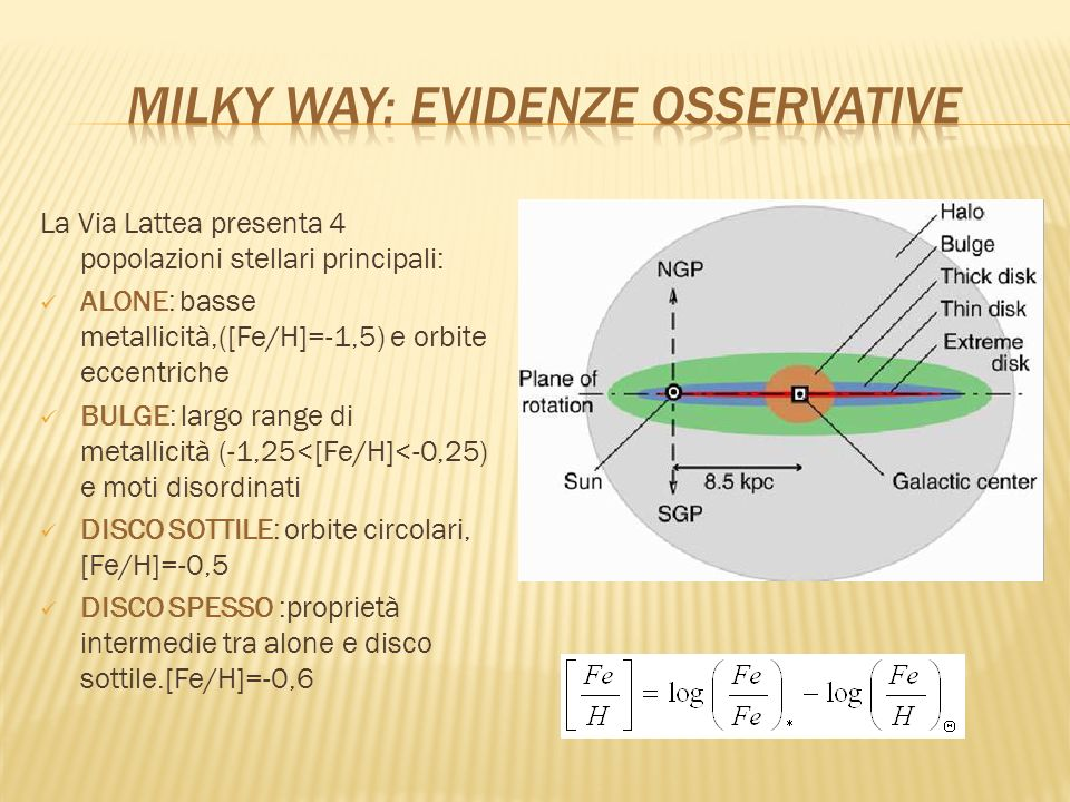 Milky way: evidenze Osservative