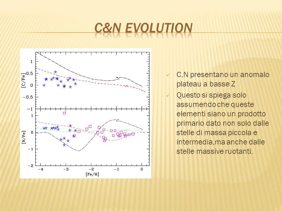 C&N evolution C,N presentano un anomalo plateau a basse Z