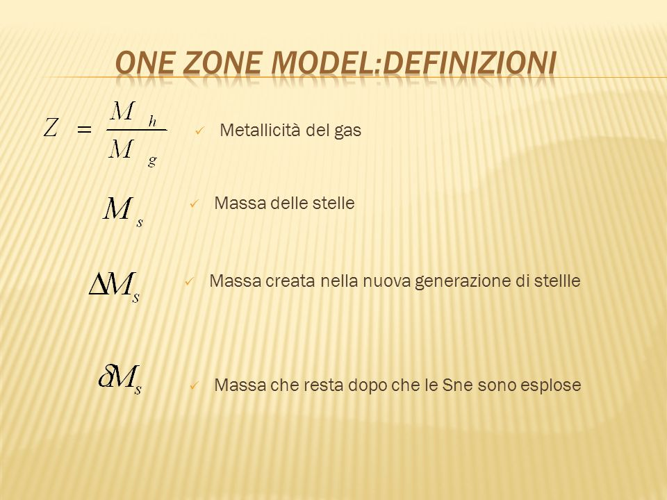 One zone model:definizioni