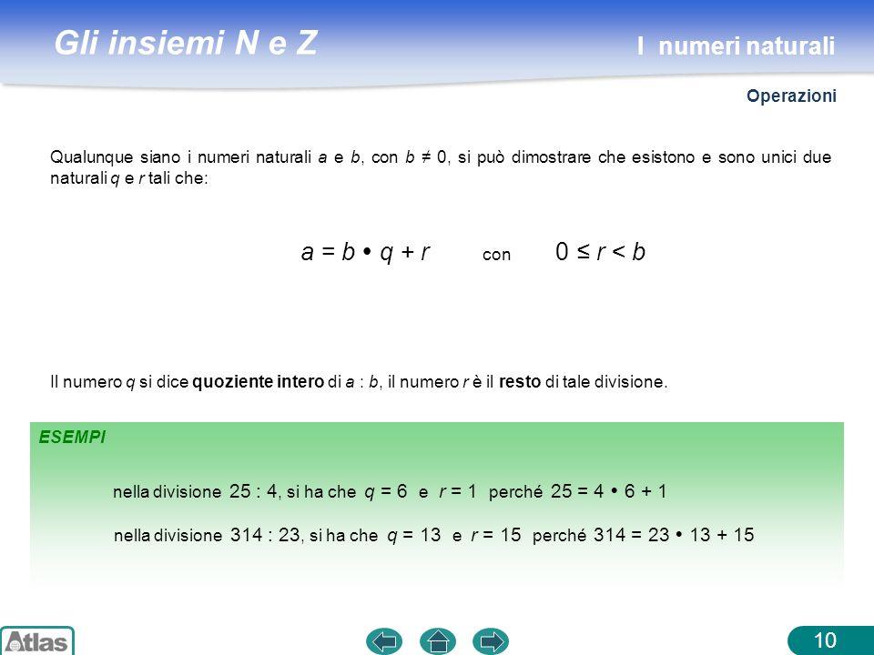 I numeri naturali a = b  q + r con 0 ≤ r < b Operazioni