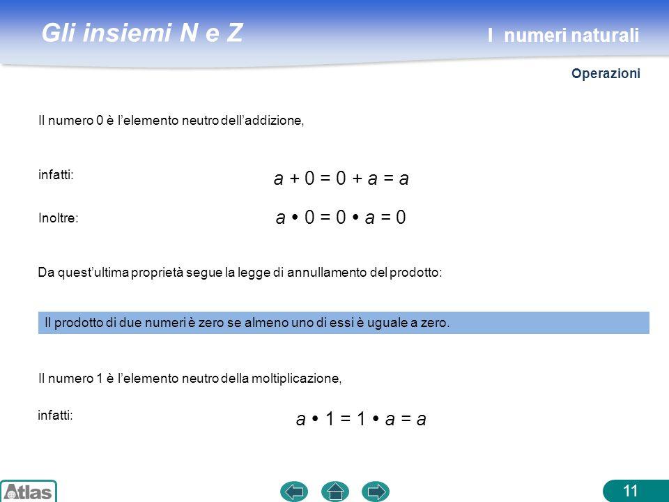 I numeri naturali a + 0 = 0 + a = a a  0 = 0  a = 0