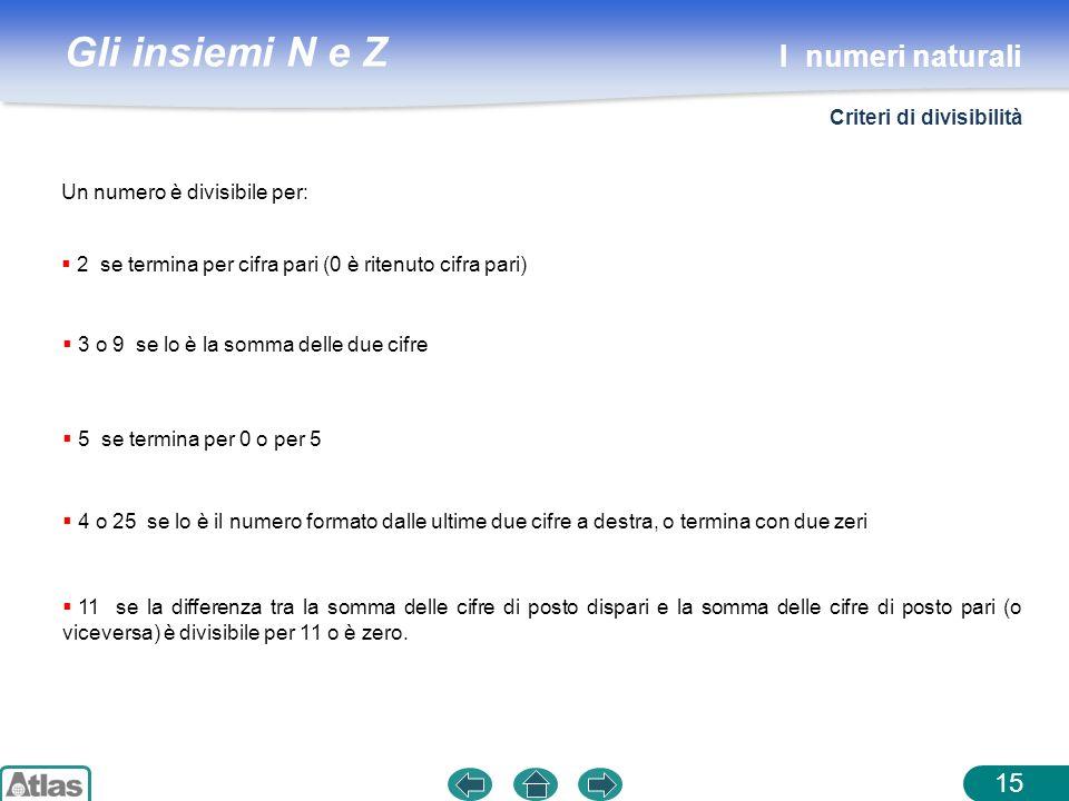 I numeri naturali Criteri di divisibilità Un numero è divisibile per: