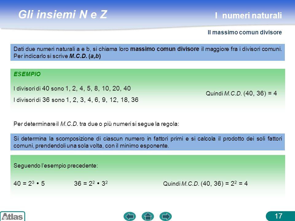 I numeri naturali 40 = 23  5 36 = 22  32 Il massimo comun divisore