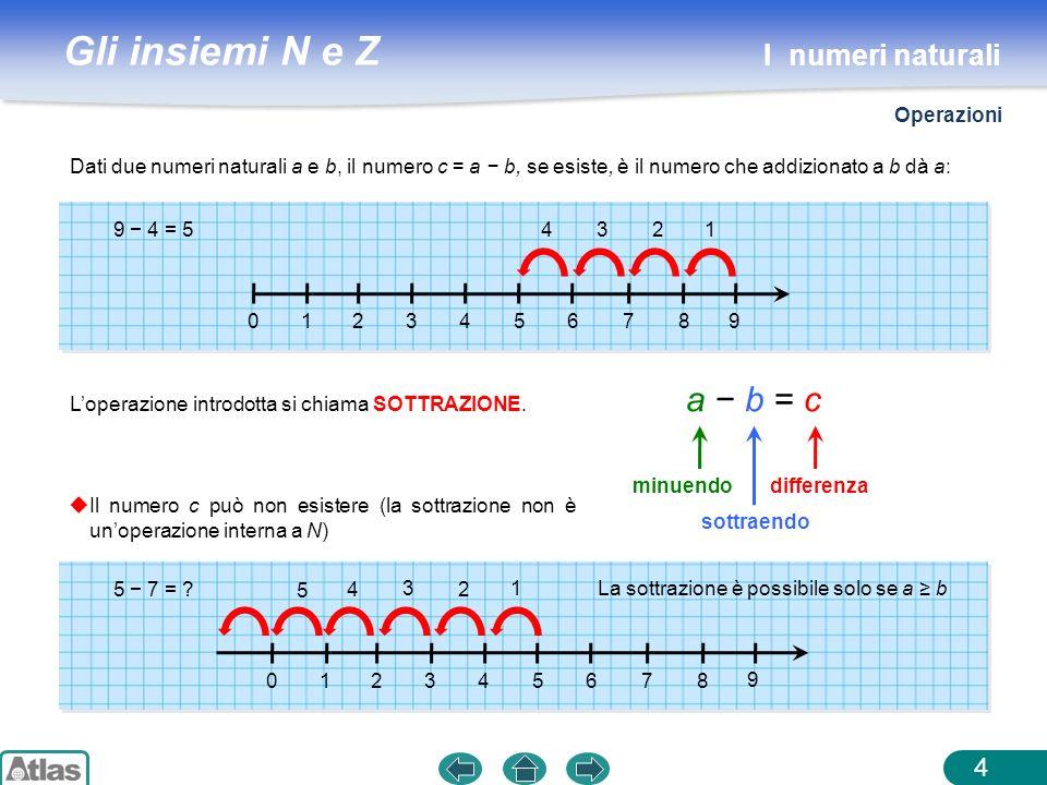 a − b = c I numeri naturali Operazioni