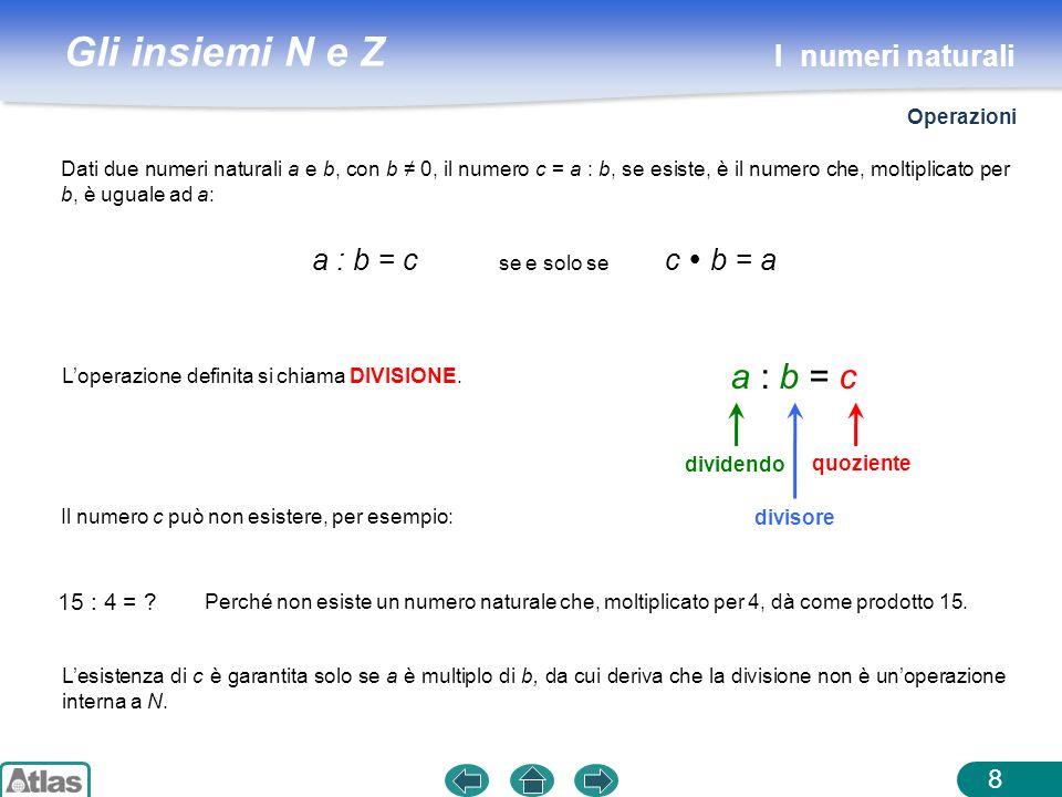 a : b = c I numeri naturali a : b = c se e solo se c  b = a