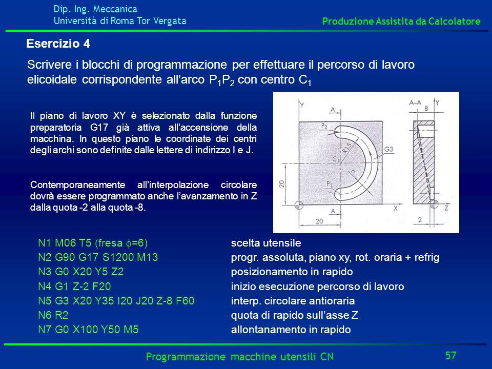 Esercizio 4Scrivere i blocchi di programmazione per effettuare il percorso di lavoro elicoidale corrispondente all'arco P1P2 con centro C1.