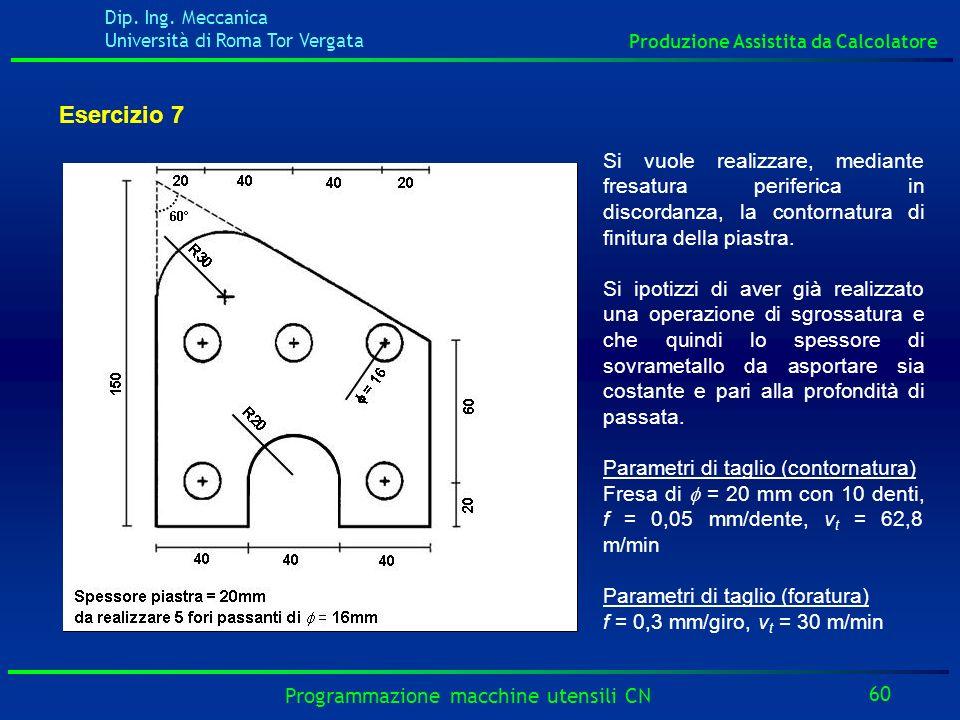 Esercizio 7Si vuole realizzare, mediante fresatura periferica in discordanza, la contornatura di finitura della piastra.