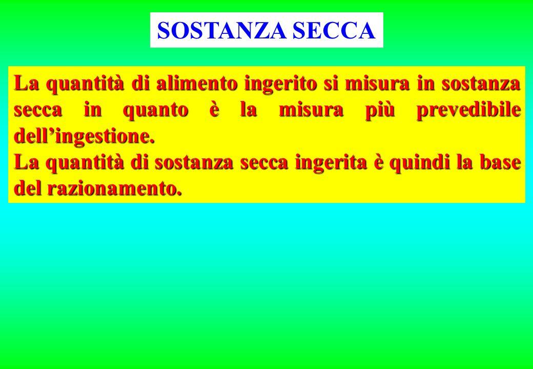 SOSTANZA SECCA La quantità di alimento ingerito si misura in sostanza secca in quanto è la misura più prevedibile dell'ingestione.