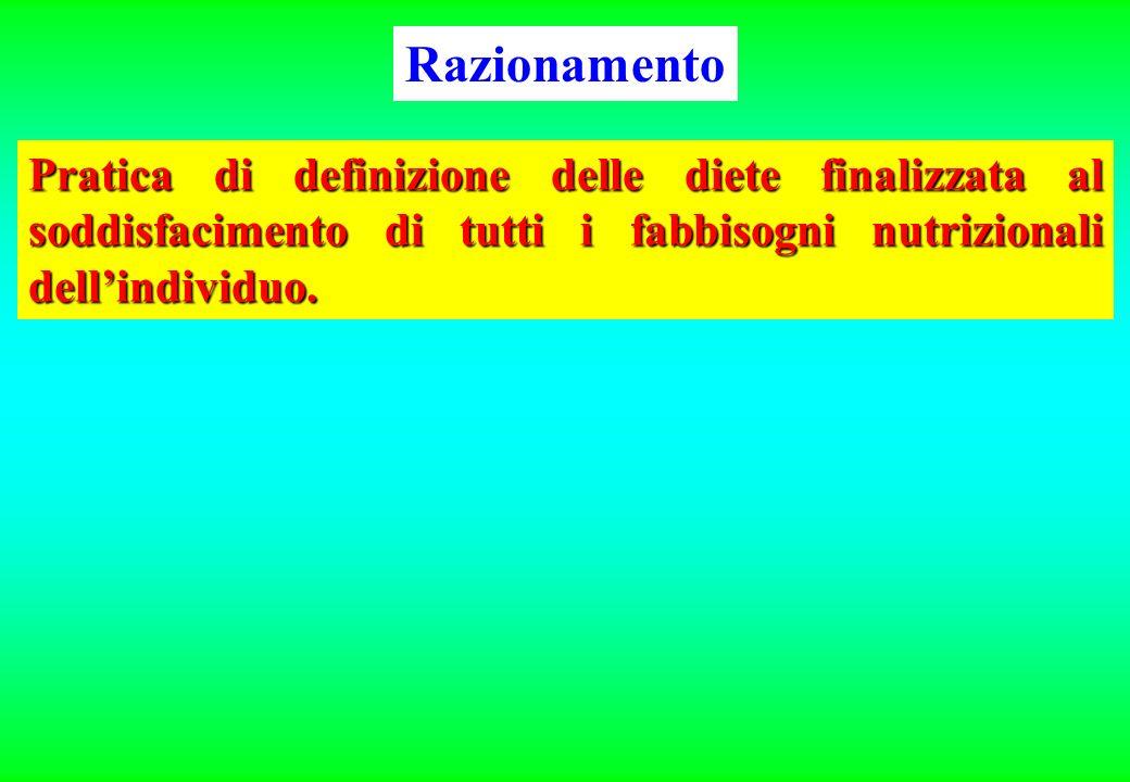Razionamento Pratica di definizione delle diete finalizzata al soddisfacimento di tutti i fabbisogni nutrizionali dell'individuo.