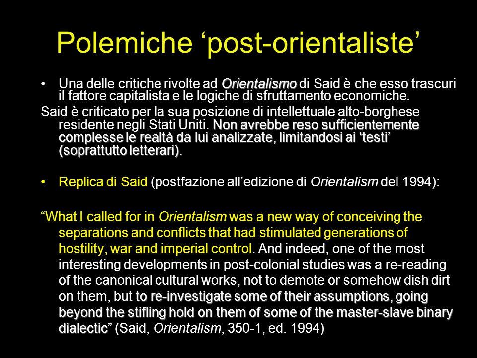 Polemiche 'post-orientaliste'