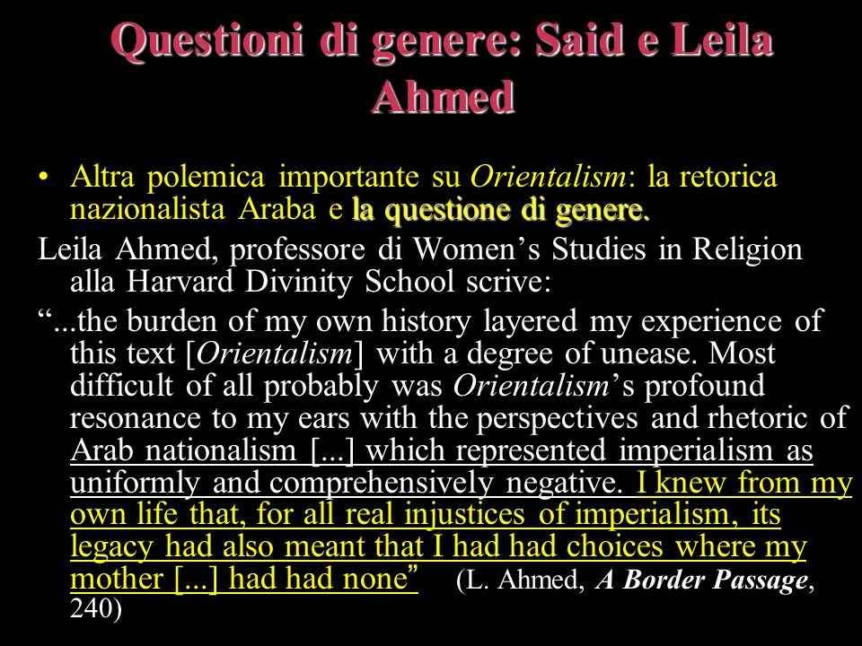 Questioni di genere: Said e Leila Ahmed