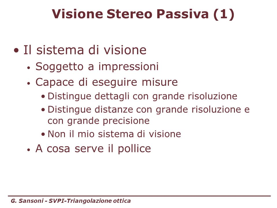 Visione Stereo Passiva (1)