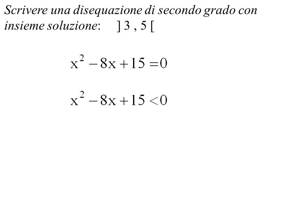 Scrivere una disequazione di secondo grado con