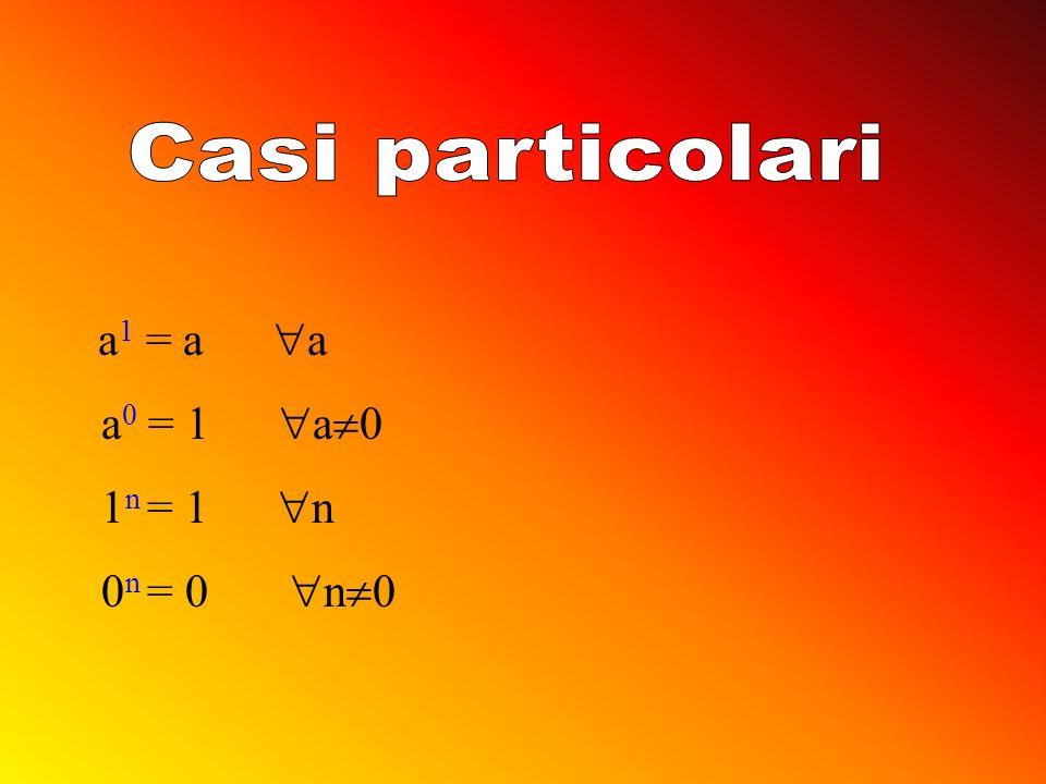 Casi particolari a1 = a a a0 = 1 a0 1n = 1 n 0n = 0 n0
