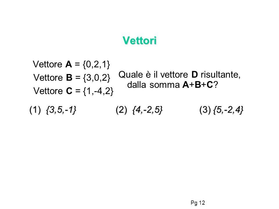 Vettori Vettore A = {0,2,1} Vettore B = {3,0,2} Vettore C = {1,-4,2} Quale è il vettore D risultante, dalla somma A+B+C