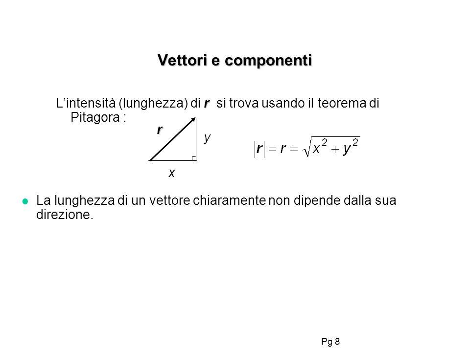 Vettori e componentiL'intensità (lunghezza) di r si trova usando il teorema di Pitagora : r. y. x.