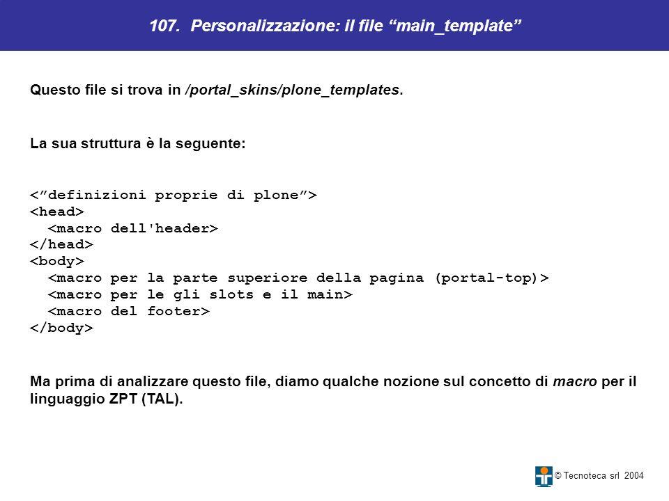 107. Personalizzazione: il file main_template