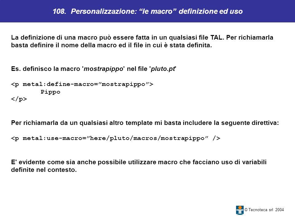 108. Personalizzazione: le macro definizione ed uso