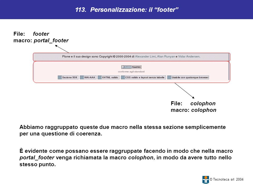 113. Personalizzazione: il footer